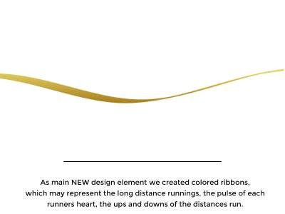 As main NEW design element we created colored ribbons, which may represent the long distance runnings, the pulse of each runners heart, the ups and downs of the distances run.